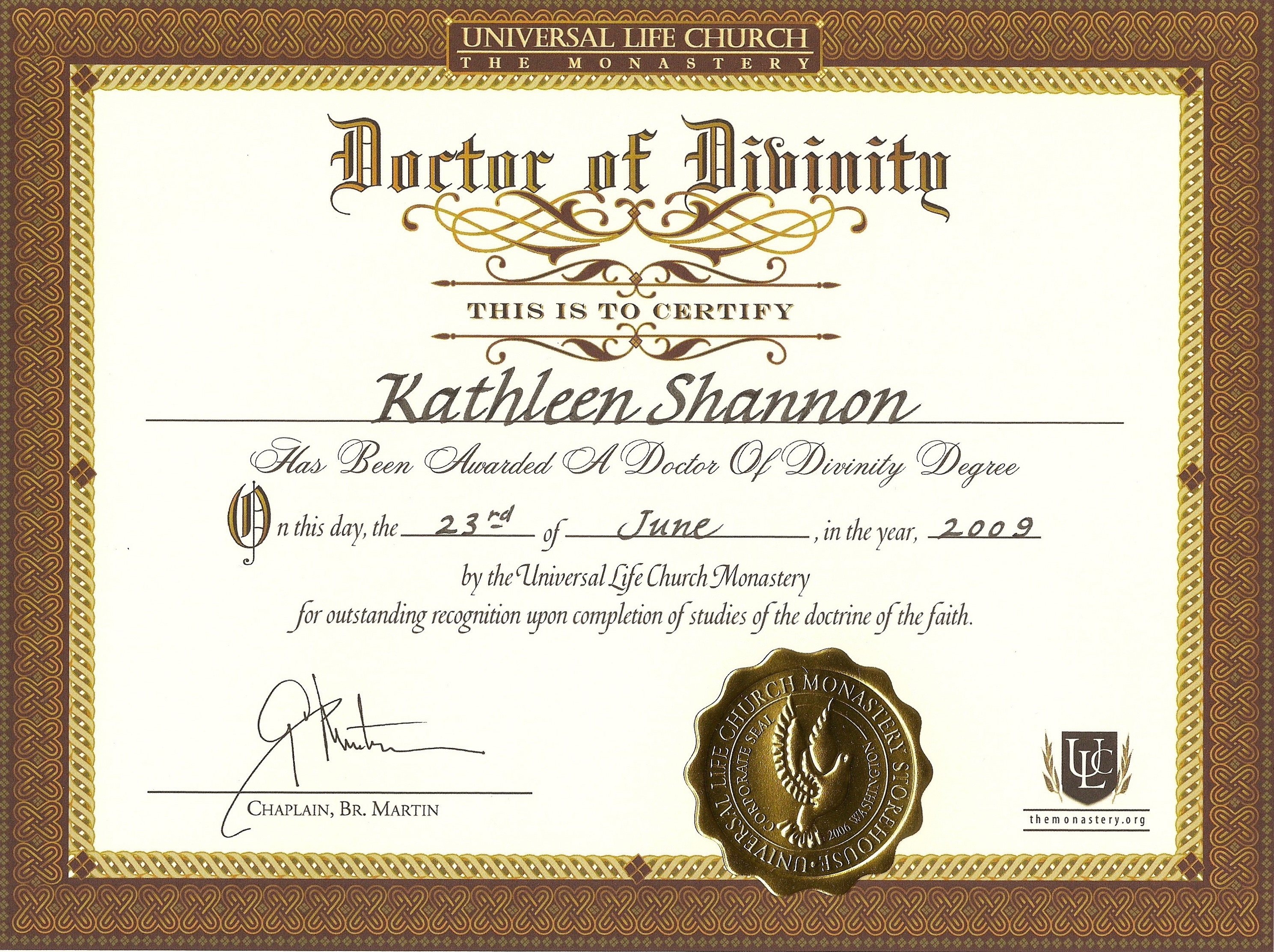 Doctor of Divinity Certificate