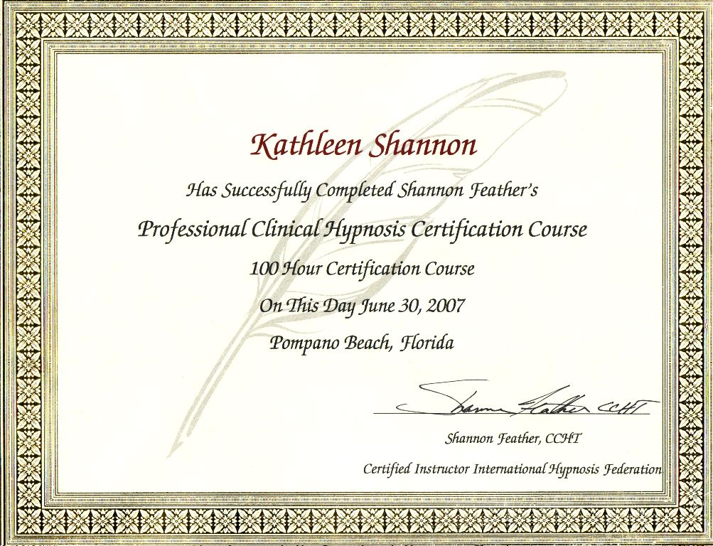 Clinical Hypnosis Certificate