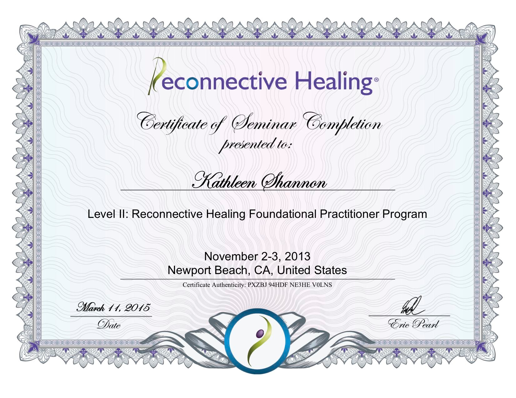 Reconnective Healing Certificate