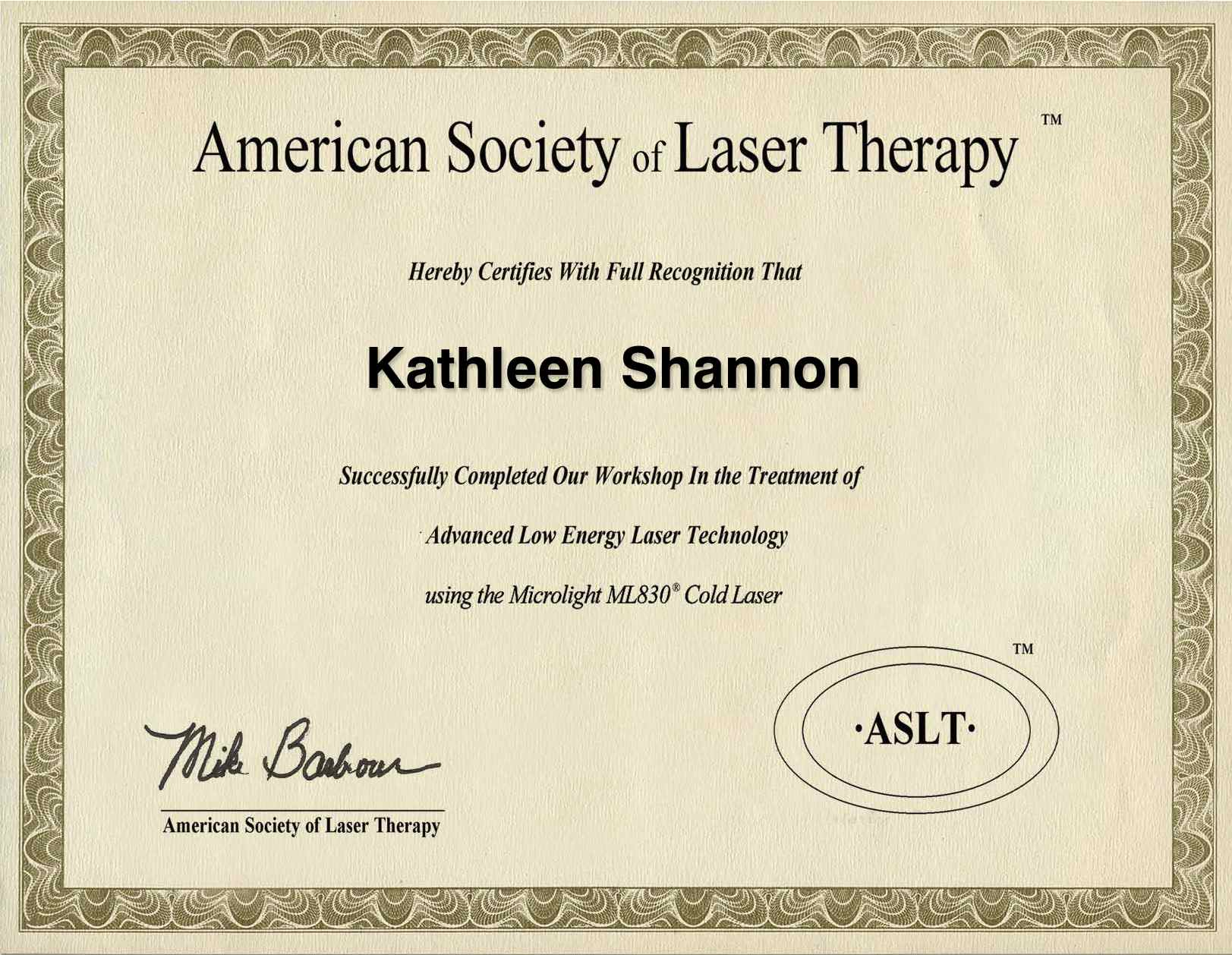 ml830 cold laser certificate